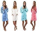 Betz modischer Kapuzen Bademantel für Damen praktischem Reißverschluss Morgenmantel Saunamantel