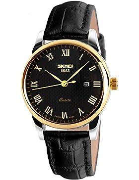 Findtime Herren Uhren Damenuhr Gold Schwarz Lederarmband Business Casual Analog Quarz Datum Kalender Armbanduhr