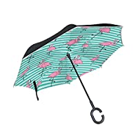 FOLPPLY Inverted Umbrella Tropical Flamingo Pattern,Double Layer Reverse Umbrella Waterproof for Car Rain Outdoor with C-Shaped Handle