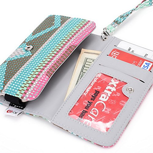 Kroo Téléphone portable Dragonne de transport étui avec porte-cartes pour Verykool s5012Orbit/S5015Spark II Multicolore - bleu Multicolore - vert