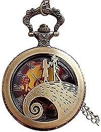 Jack Skellington Sally TimBurton - Reloj de bolsillo con cadena y colgante de bronce para mujer y hombre