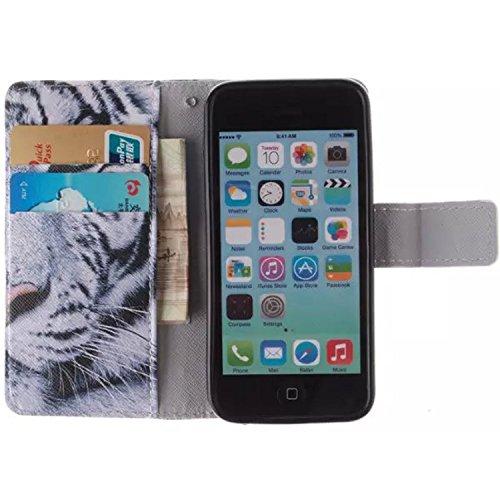 Mobilefashion Custodia in pelle PU Cuoio Custodia Protettiva Portafoglio Case Cover per Apple iPhone 5C con funzione di supporto e chiusura magnetica (Tigre E)+ Pellicola Protettiva. Tigre E