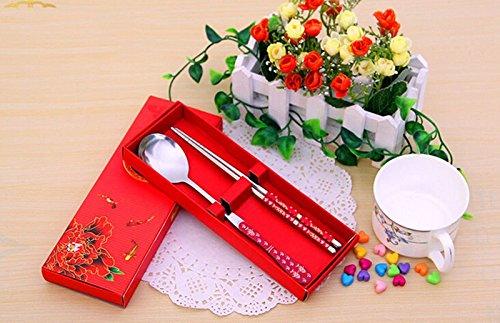 Baguettes et cuillère en métal inoxydable acier motif chinois
