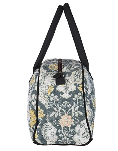 Borsa in pelle casuale Tote Bag Pois Kantha lavoro per le donne By Rajrang Off White & Xanadu Green