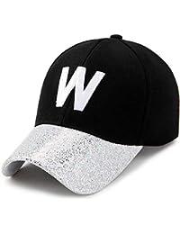 AdorabFitting-Cap Gorras Beisbol Baseball Cap Sombrero Boinas Hat Letra W  Masculino y Femenino Pareja Lentejuelas… 5ae754185dd