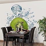 Apalis Vliestapete Küchentapete Kiwi Bubbles Fototapete Quadrat | Vlies Tapete Wandtapete Wandbild Foto 3D Fototapete für Schlafzimmer Wohnzimmer Küche | Größe: 192x192 cm, grün, 97771