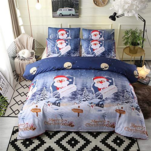round Santa Claus verschneite Nachtdecke Set von DREI Sätzen Bettwäsche. (Size : 228×228) ()