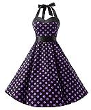 Dresstells, Version3.0 Vintage 1950's Audrey Hepburn pin-up robe de soirée cocktail, style halter années 50 à pois, Noir-Pourpre S