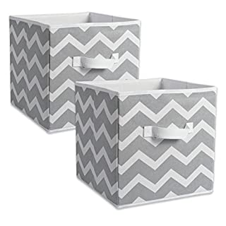 DII Fabric Storage Bins for Nursery, Offices, Home Organization, Containers Are Made To Fit Standard Cube Organizers (11x11x11) Chevron Gray - Set of 2