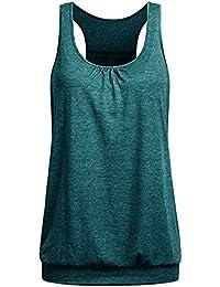 TUDUZ Damen Große Größe Camisole Rundhals Falten T-Shirt Weste Bluse Ärmellos Stretch Tunika Top