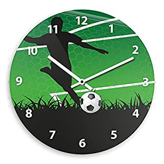 Wanduhr mit Fußball-Motiv für Jungen | Kinderzimmer-Uhr | Kinder-Uhr