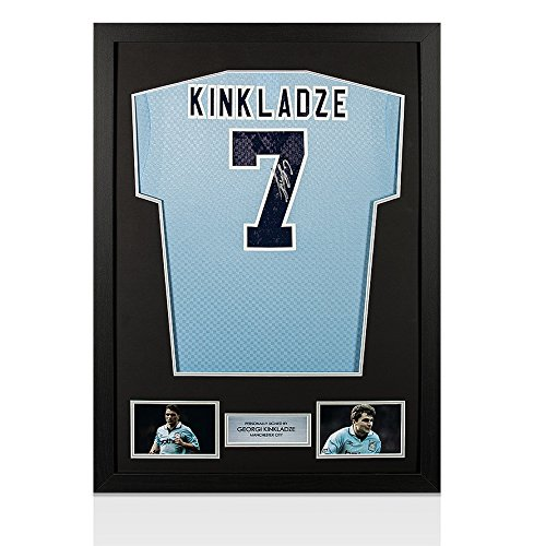 Framed-Georgi-Kinkladze-Hand-Signed-Manchester-City-Shirt-Number-7