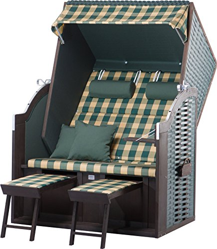 Strandkorb Sylt PE green Dessin 353 Strandkörbe inkl. Premium Schutzhülle