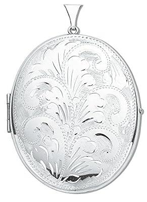 Silver Locket Oval locket Large 55 x 45mm Silver Engraved Locket