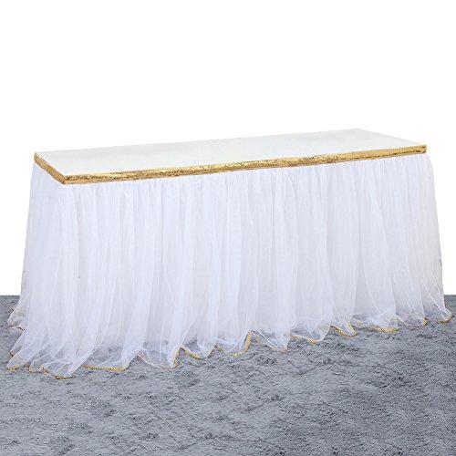Hjuns Tutu Tulle Jupe de table 2,7 m Table de gaze Jupe avec ruban adhésif – Meilleur Mariage Anniversaire Banquet Décoration de fête Doré/blanc