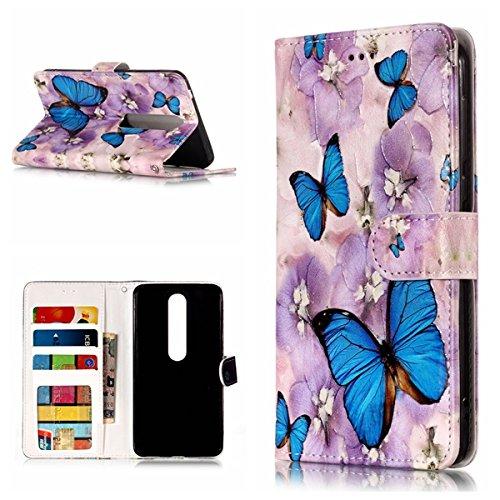 Cozy Hut Nokia 6 2018 Hülle,Nokia 6 2018 Leder Wallet Tasche Brieftasche Schutzhülle, 3D Schmetterling Muster PU Lederhülle Flip Hülle im Bookstyle Cover Schale Stand Ständer Etui Karten S