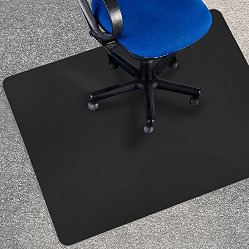 etm Black Polycarbonate Office Chair Mat - 90x120cm (3'x4') - Carpet Floor Protection - No-Recycling Material - High Impact Strength