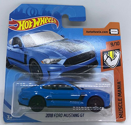 Hot Wheels 2018 2018 Ford Mustang GT Blue 9/10 Muscle Mania 216/365 (Short Card)