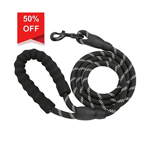 Wloomm-5-FT-Rope-Dog-Leads-Durable-Dog-Training-Walking-Leash-with-Comfortable-Padded-Handle-Highly-Reflective-Threads-for-Small-Medium-and-Large-Dogs-Dog-Seat-Belt-Black