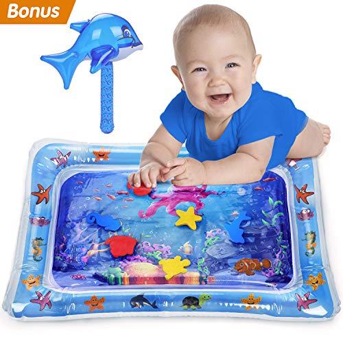Fivejoy Aufblasbare Spielmatten, Baby Wassermatte Spaß Bauchzeit für Kleinkinder, Auslaufsicher BPA-frei Wasserspielmatte, Spielen Aktivitätscenter Tastmatte Spielzeug mit aufblasbarem Delphin
