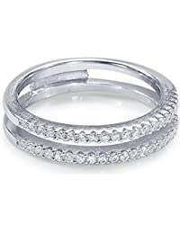 Peora 925 Sterling Silver Rhodium Cubic Zirconia Embellished Double Band Ring for Women and Girls