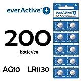 NEMT 200 X Everactive AG10 LR 54 - LR1130 - L1131 - 189 Knopfzelle Uhrenbatterie 1,5 V