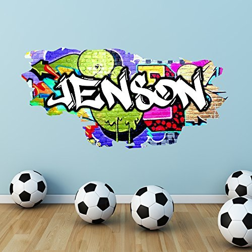 Multi Full Farbe personalisierbar Graffiti Namen Brick Wandtattoo Aufkleber Graphic Schlafzimmer, Medium: 100cm(W) x 49cm - Brick Graphics Wall