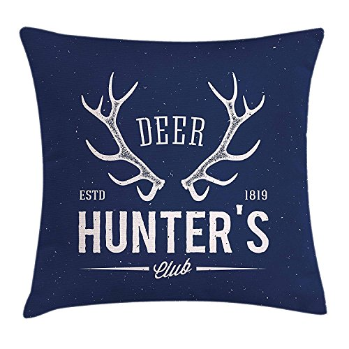 hat pillow Hunting case Deer Hunter's Club Logo Design with Antlers Retro Typography Shabby Style Icon 18 X 18 inches Hunter Knit Hat