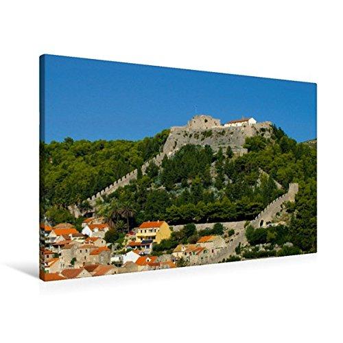 Preisvergleich Produktbild Premium Textil-Leinwand 90 cm x 60 cm quer, Festung Španjola, Hvar | Wandbild, Bild auf Keilrahmen, Fertigbild auf echter Leinwand, Leinwanddruck: Burgen in Kroatien (CALVENDO Orte)