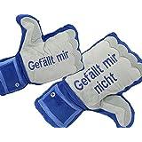Handschuh Plüsch mit Spruch 'Gefällt mir' u 'Gefällt mir nicht' Jury 33x29 cm (GYD)