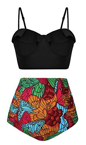 Angerella Frauen Flouncing Hohe Taille Vintage Blumen Gedruckt unten Zwei Stück Strandkleidung Bikini Set (Tag Bikini-badeanzug Stück Zwei)