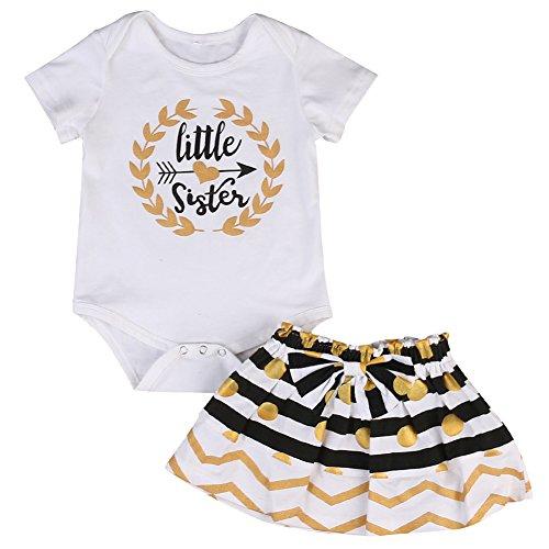 Kleine große Schwester Anzug Set, Spielanzug T-Shirt Polka Dot Rock Kleid Outfits Set für Baby Mädchen (0-6 Monat, Kleiner Schwester Bodysuit) (Gestreiften Rock Anzug)
