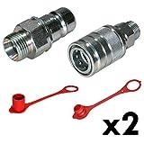 Hydraulik 2X Muffe & Stecker 12L inkl. Staubschutz Industrie Qualität ISO 7241-1A, HS1