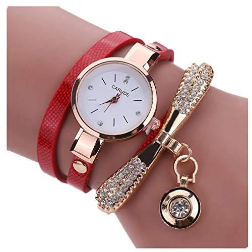 Dorical Uhren Damen Frauen Armbanduhren Günstige Uhren Casual Analoge Quarz Uhr/Klassische Mädchen Uhr Lederne Rhinestone Uhr analoge Quarz Armbanduhren Großes Geschenk(Rot)