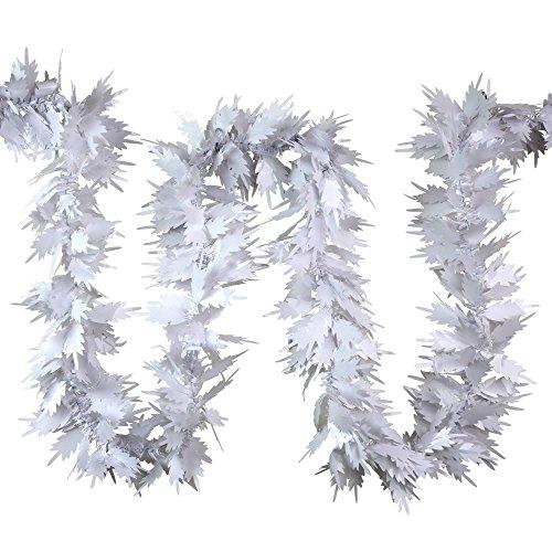 Weihnachts Deko Lametta Girlande Weiß Farn 3x 2m (Farn-girlande)