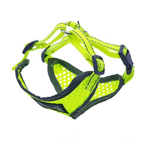 ThinkPet Atmungsaktives Hundegeschirr aus Weichem Air Mesh Gewebe, reflektierend, Klein, Neon-Gelb