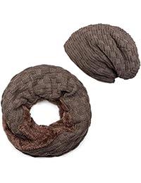styleBREAKER Ensemble écharpe et bonnet à boucle tricotée avec motif  tressé, doublure en polaire, hiver,… e116a4b4935