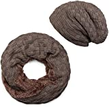styleBREAKER Strick Loop Schal und Beanie Mütze Set mit Flecht Muster, Fleece Innenfutter, Winter, Unisex 01018211, Farbe:Taupe