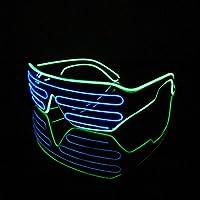 Lerway 2 Colori EL Wire illuminazione Leggero Occhiali Bicchieri Novità Maschera Occhi + Scatola di Controllo per Mascherata Festa Pub Club Notte Mostrare blu + verde