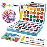 Aquarellfarbkasten, Aquarellfarben Set bestehend aus 48 Wasserfarben, 1 Aquarellpinsel, 1 Wassertankpinsel, 8 Aquarellpapier Und anderes 6Stck Aquarellfarben Zubehör - Perfekt für Anfänger und Profis