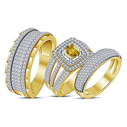 Lilu Jewels Trio Seine Her Saphir & CZ Massiv 14K Vergoldet über Braut Band Engagement Ring Set (Seine Trio Und Ihre Hochzeits-set)