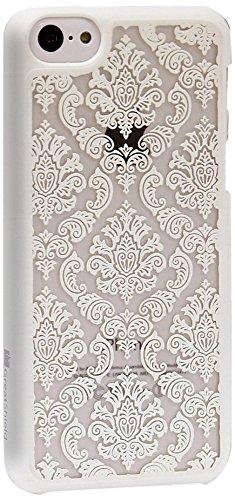 GreatShield TACT Pattern Coque arrière ultra fine en caoutchouc rigide pour iPhone 5c 2013 Motif rét Flora Design (White) Damask Design (White)