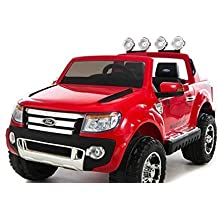 Electric Ride-On Toy Car Ford Ranger Wildtrak, 2 X MOTOR, two-seater, red, MP3 USB, SD card, original Ford license by RIRICAR