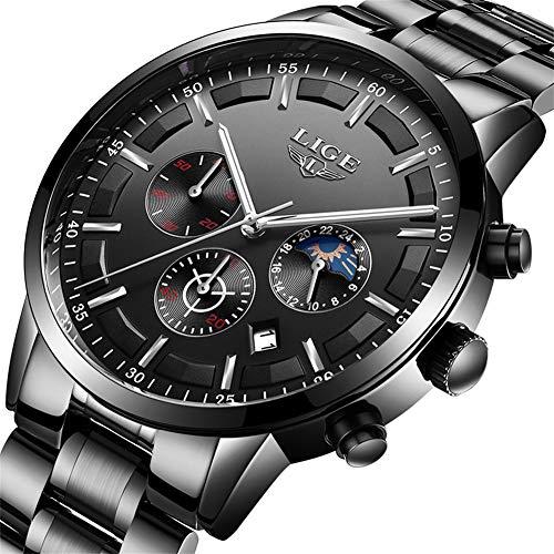 Herren-Uhr LIGE Business Analog Quarzuhr Wasserdicht Edelstahl Chronographen Uhr Schwarz ...