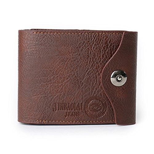 Geldbörsen Herren | Leder Geldbörse | Wallet | Portemonnaie | Brieftasche | Portmonee | Geldbeutel | Vintage Geldsack | Kartenhalter | Kartenetui | Geldklammer von JINBAILAI (Schwarz) Dunkelbraun