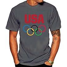 Hombre Bandera de EE. UU. aros olímpicos Team USA–Camiseta Negro
