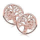 MATERIA Rosegold Ohrstecker Lebensbaum rund - 925 Silber Ohrringe Gold vergoldet keltisch für Damen Mädchen #SO-387