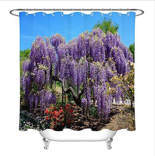 HHIAK666 Duschvorhang Scenic Tree & Flower Travel Bad Vorhang Natur Waschbar Wasserdichtes Gewebe Für Badewanne Decor180 * 180 cm