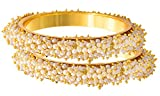Jfl - Jewellery For Less Traditional & Ethnic One Gram Gold Plated Designer Bangle Set With Pearl For Women(212, Copper)