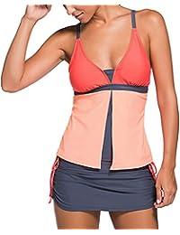 Addfect Tankini Femme Col V Push Up Maillot de Bain 2 Pieces Rembourré Couleur Pure Bikini Amincissant Swimwear (FR 38 (M), Noir)